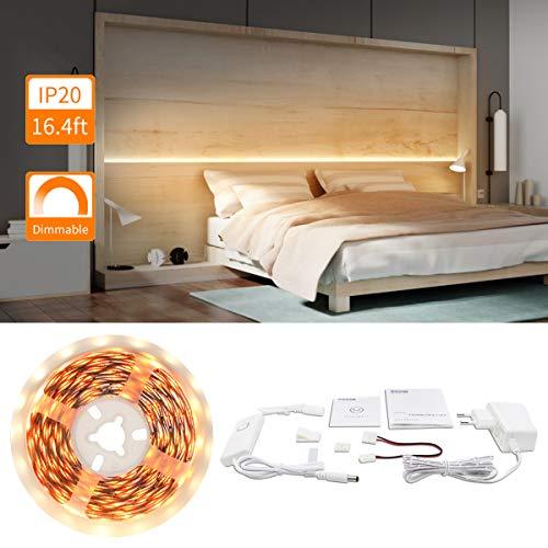 Dimmbar LED Strip Warmweiß 5M LED Streifen 2835 300 LEDs Schrank LED Beleuchtung LED Unterbauleuchte mit UL Leistung für Schrank Bücherregal Schrank Deko Lichter 2800-3000K