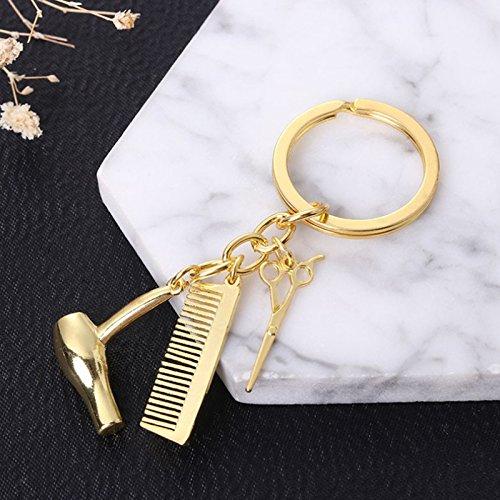 PinzhiCreative Sèche-cheveux Ciseaux Peigne Pendentif porte-clés Porte-clés Coiffeur