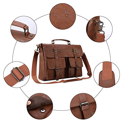 Leather Messenger Bag for Men, Vintage Leather Laptop Bag Briefcase Satchel, 17.3 Inch Computer School Work Bag (Brown)