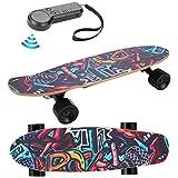 Youth ever Skateboard Eléctrico Adulto Longboards Skateboard Completo Graffiti con Control Remoto Inalámbrico Negro Monopatín de Crucero Completo para Niños,Adolescentes,Adultos, Ajuste 3 Velocidades