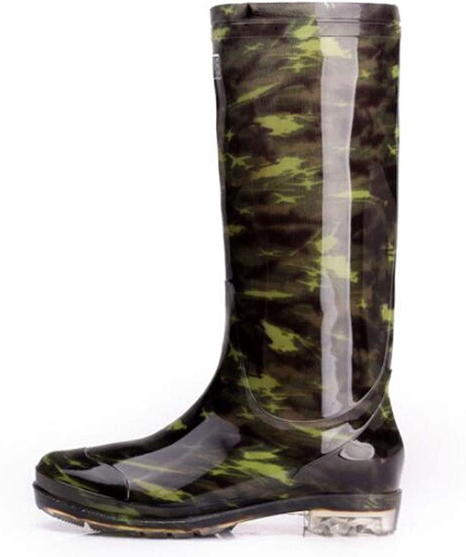 HYZSX Rain Boots, High Tube Camouflage Rain Boots Waterproof Wear-Resistant Anti-Slip Sets of Foot Rubber Rain Boots