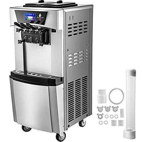 VEVOR Macchina per Gelato Soft da 3 Gusti, Capacità da 2x7L Gelatiera Commerciale Professionale con Pannello LED, Produzione di 20-30 L/H 2300W Pre-raffreddamento Ice Cream Maker con Porta Cono