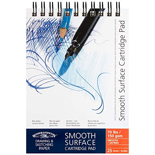 Winsor&Newton - Blocco Carta Satinata, Grana Liscia Spirale Lato Corto - 150 Gr - A6 - 25 Fogli