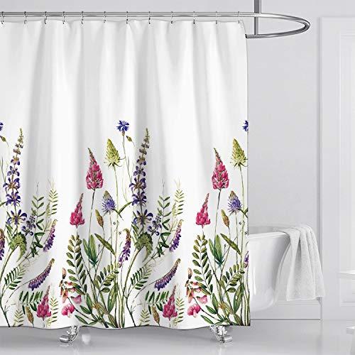 Fuloon Duschvorhänge Set für Badezimmer, Anti-Schimmel, Wasserdichter, Waschbarer,mit 12 Duschvorhängeringen, 180x180cm (Weiß/Lavendel)