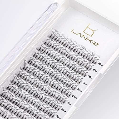 LANKIZ 3D Russian Lashes Volume Fans 0.10mm C Curl 12mm pre made russian lashes Individual Eyelash Extensions, Cluster Lashes for Salon and Lash Artist
