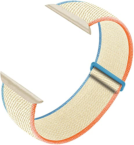 Nylon Sport Loop Band Compatible with Apple Watch Bands 38mm 40mm 42mm 44mm, Women Men Velcro Braided Elastic Wristbands Replacement Band for iWatch Series 6 5 4 3 2 1 SE,(Milky White,38mm/40mm)