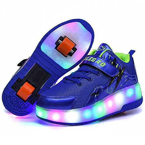 RECOLLECT Kinderschuhe mit Rollen 1 Rädern/2 Rädern LED Skateboard Schuhe USB Aufladbare Sportschuhe Laufschuhe Sneakers mit Rollen Kinder Jungen Mädchen,Blau,37 EU
