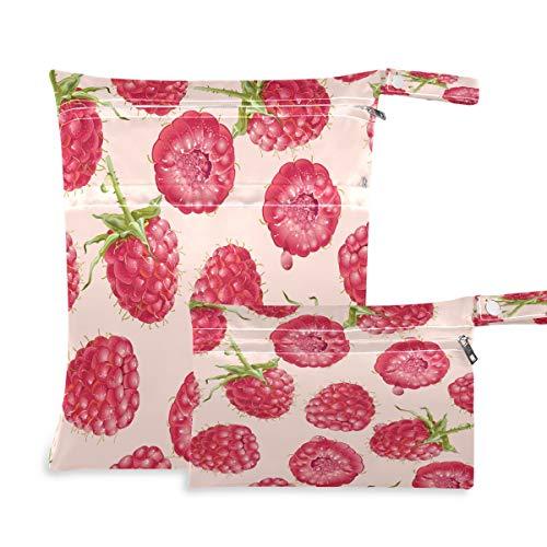 F17 2 bolsas húmedas secas con estampado de frambuesa y fruta, bolsa de pañales, impermeable, reutilizable para viajes, natación, playa, cochecito, ropa de gimnasio sucio