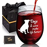 Dogs & Wine Make Life Better Dog Lover Gifts Funny Stemless Wine Glass for Dog Mom, Dog Dad, Unique Novelty Present Idea for Women Men, 18 oz