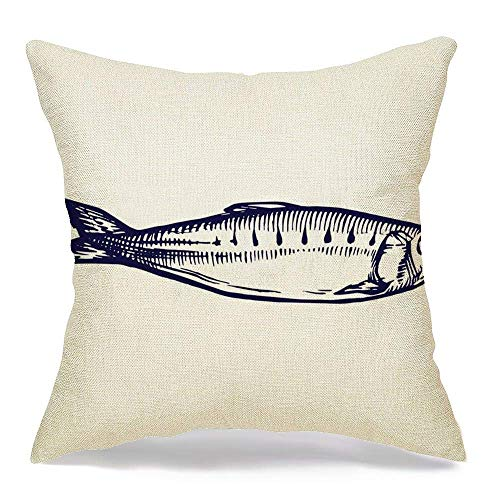 shenhaimojing Funda De Almohada,Funda De Almohada Cuadrada Diseño Acuático Sardina Línea De Pescado Marisco Comida Bebida Vida Silvestre Animal Negro Dibujo Pesca Carne