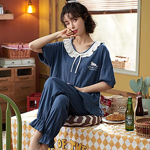 Pijama Conjunto De Pijama Sexy De Encaje Negro con Cuello En V De Verano, Ropa De Dormir De Algodón para Mujer, Ropa De Dormir Informal De Talla Grande, Ropa De Dormir De Dibujos Animados De