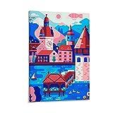 WEILEI Schweiz Reise-Poster auf Leinwand, Kunst-Poster und