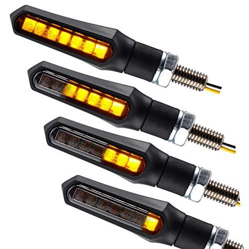 Motorrad LED Lauflicht Blinker Sequentiell Shark schwarz smoke getönt E-geprüft vorn hinten