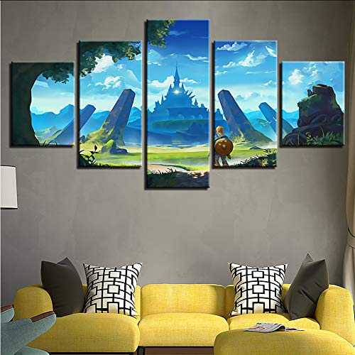 Gwgdjk Druck Moderne Kunst Modulare Rahmen Bild 5 Stücke Legend Of Zelda Spiel Charaktere Landschaft Leinwand Malerei Dekor Raum Wand-20X35/45/55Cm,With Frame