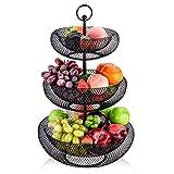 LOMOFI Cesta de Frutas de 3 Niveles,Cesta Separable para Verduras con 3 cuencos de frutas de gran capacidad, frutero moderno de diseño hueco de malla, para cocina, baño, sala de estar, oficina