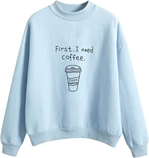 Pullover for Women,Letter Coffee Cup Print Crewneck Casual Long Sleeve Plus Velvet Sweatshirts Blouses