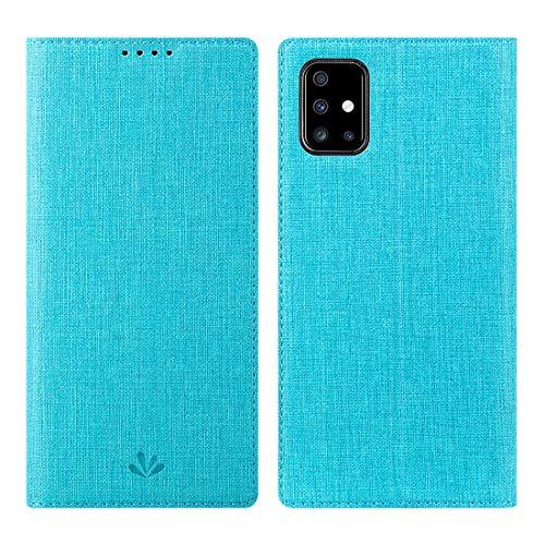 Galaxy A51 Hülle,Premium Leder Geldbörse Tasche mit [Kickstand][Kartenhalter][ID Holder][TPU Bumper] Stoßfest Schutzbrieftasche Stoßfest Flip Tasche für Samsung Galaxy A51 Smartphone,Blau