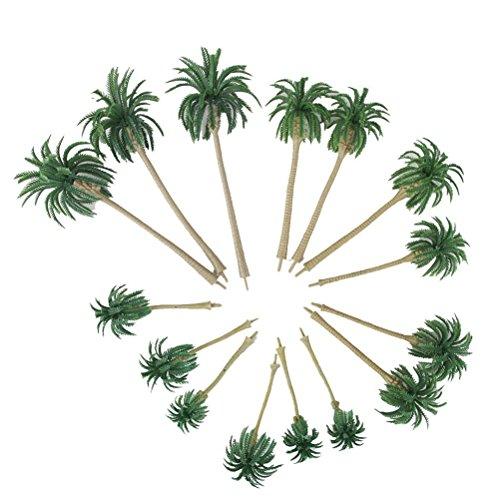 LIOOBO 15PCS Modelo de árboles de Palmeras de Coco Paisaje Paisaje en Miniatura árboles ho Escala onz