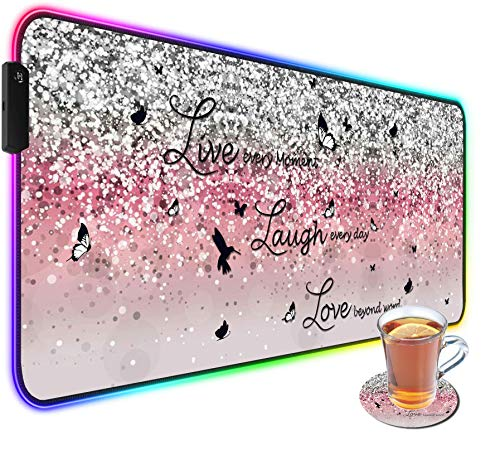 BOSLIVE Customized RGB Gaming Mouse Pad and Coffee Coaster,Large Glowing Led Anti-Slip Rubber Base Computer Keyboard Desk Mouse Mat 31.4x11.8 Inch,Pink Glittering Live Laugh Love