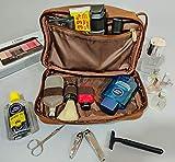 Rustic Town Kulturtasche Männer Leder große Waschtasche Herren im Vintage Design Toilettentasche ideal für Reisen Kulturbeutel aus echtem Leder - 6