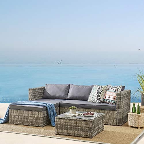 Cherry Tree Furniture 3-Piece Garden Sofa Set with Lounge, Patio Corner Sofa Set with Table