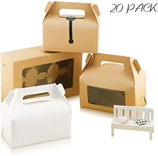 20 Pack Kraft Paper Cupcake Boxes,Cookie Boxes with Clear Window, Decorative Treat Box with Ribbon and Stickers, Brown