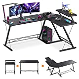 61' Super Large L Shaped Desk Gaming Desk L Desk Computer Corner Desk with Round Corner with Monitor Stand for Gaming Desk Home Office Writing Workstation, Black