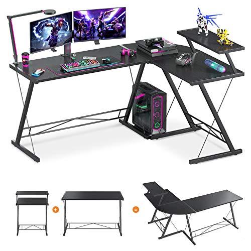 61' Super Large L Shaped Desk Gaming Desk L Desk Computer Corner Desk with Round Corner with Monitor...