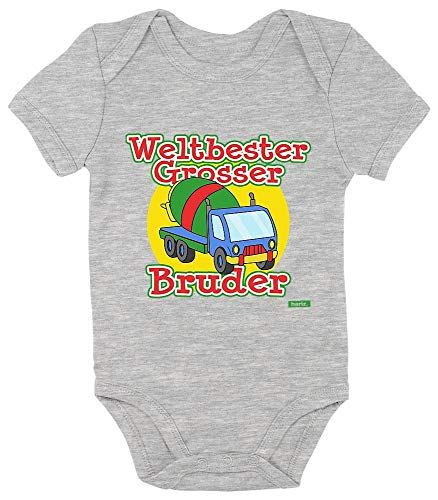 HARIZ Baby Body a maniche corte World Best Grande fratello, divertente miscelatore di calcestruzzo, fratello più grande del mondo, con carte regalo, colore grigio, 3 – 6 mesi