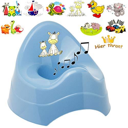 alles-meine.de GmbH Musik & Sound - Töpfchen / Nachttopf / Babytopf - blau _ Motiv-Mix - Jungen _ Bieco - Melody - mit großer Lehne + Spritzschutz - Babytöpfchen / Kindertopf / L..