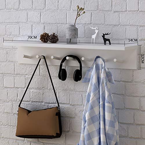 WWWANG Houten Hangende muur hanger - Planken Hanger Op deur van de slaapkamer, Wand Rekken for wandmontage kapstok met haak (Color : White, Size : 70cm)