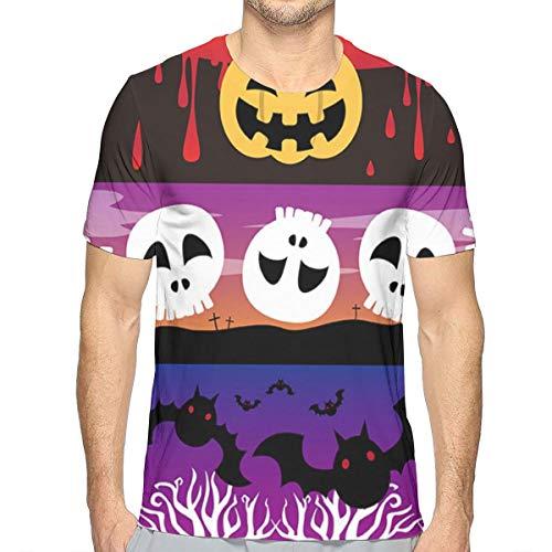 T-Shirt in Cotone Manica Corta Sangue, Lanterna, cimitero, Pipistrello, Foresta, Teschio e Ossa Incrociate da Uomo L