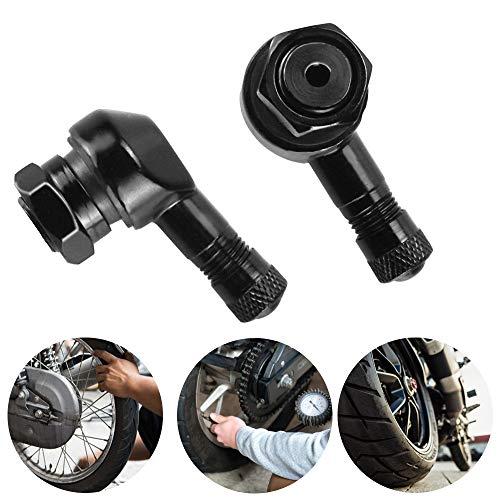 2 Stück Winkelventile Motorradventile Alu Winkelventile Schwarz Reifenventile Motorrad Ventile aus Aluminiumlegierung für Auto, Motorrad
