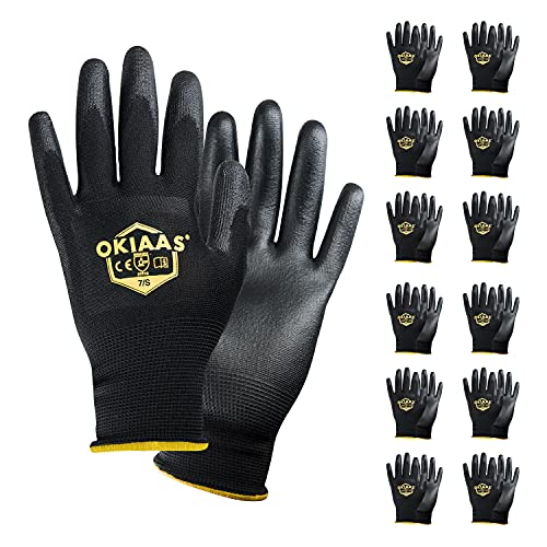 OKIAAS Safety Work Gloves(Bulk 12-Pair Pack, Size S/7) with Grip, Polyurethane(PU) Coated Working Gloves for Mechanic, Warehouse, Gardening, Construction, DIY, Yard Work (Black Small)