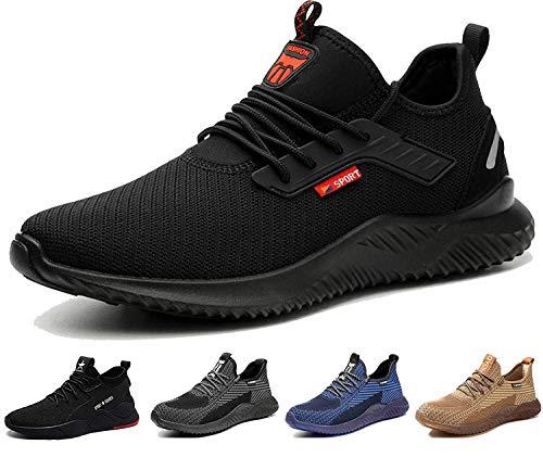 BAOLESEM S3 Sicherheitsschuhe Herren Arbeitsschuhe Herren Damen Leicht Sportlich Atmungsaktiv Schutzschuhe Stahlkappe Schuhe schwarz 42 EU
