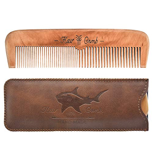 Wooden Hair Combs for Men,Men's Wood Beard Comb with Leather Travel Case,Mens Combs for Hair,Kids Comb(brown shark)