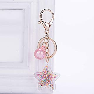 DALMSV Fashion Five-Pointed Star Acrylic Move Sequin Pentagram Keychain Girl Backpack Pendant Key Ring Girlfriend Couple Gift