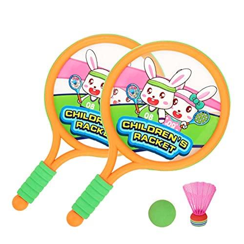 Fencelly Juego de raquetas de tenis para niños, raquetas de bádminton, pelota de padre-hijo juguetes interactivos para niños al aire libre juego de deportes de interior
