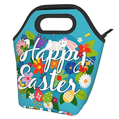 Bolsas de almuerzo con aislamiento portátil para mujer, diseño de conejo de Pascua, con bolsillo frontal, reutilizable, para hombres, adultos, niñas, trabajo, escuela, picnic