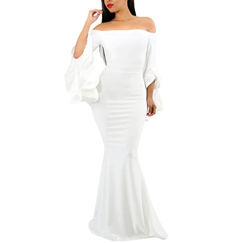 38d2106f01d AlvaQ Women Off Shoulder Bell Sleeves Party Evening Gown Mermaid Maxi Dress