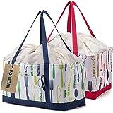 保温 保冷バッグ エコバッグ 2点セット 大容量 買い物バッグ レジカゴ サイズ 軽量 レジかごバッグ ショッピングバッグ 30L 巾着 折りたたみ (グリーン&レッド)