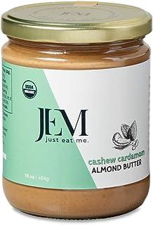 JEM Cashew Cardamom Almond Nut Butter, All Natural, Organic, Gluten-Free, Vegan, Paleo, Keto Snack, 16 oz Jar, Single Pack