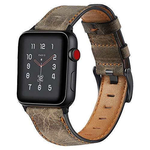 De Galen Correa de piel de vaca retro para Apple Watch 6, 4 mm, 40 mm, 42 mm, 38 mm, compatible con Apple Watch Series 6, 5, SE 4 3