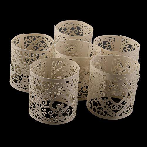 LSCC 30 Stück Creme Kerzenhalter Papier Hohlschirm Dekoration Hochzeit Tisch Wohnkultur Teelicht Esstisch Dekorieren