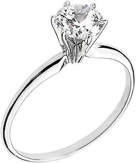 14k White Gold Elegant Cubic Zirconia Solitaire Engagement Ring