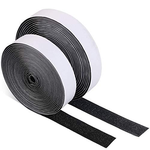 Konomi 面ファスナー 粘着テープ 粘着力強い両面テープ 強粘着裏糊付 オスメスセット DIY用 業務用 家庭用 工業用 2本セット (2.5cm*10m, ブラック)