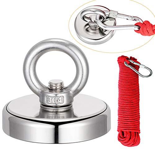Uolor 200KG Haftkraft Neodym Ösenmagnet Magnete mit Seil (20M/66ft), N52 Super Stark Magnet Perfekt zum Magnetfischen Magnet Angel - Ø 67mm mit Öse Neodymium Topfmagnet