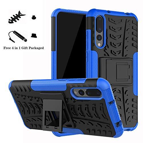 LiuShan Huawei P20 Pro Funda, Heavy Duty Silicona Híbrida Rugged Armor Soporte Cáscara de Cubierta Protectora de Doble Capa Caso para Huawei P20 Pro Smartphone(con 4 en 1 Regalo empaquetado),Azul
