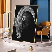 キャンバスアートワイルドブラックゴートフェイス写真キャンバスプリント絵画動物クールウォールポスターリビングルームの装飾のための家-50x70mフレームなし