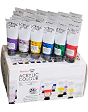Bearisca Metallic, Neon and Glitter Acrylic Non Toxic Paint Set 24 Piece x 22ml Tubes, Rich Pigments, Non Fading, with Metallic and Neon Finish for Kids, Art Supplies for Canvas & Crafts.